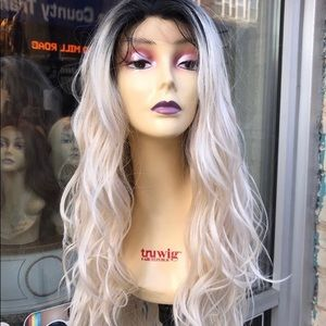 Accessories - Ash light blonde black roots wavy wig 2020